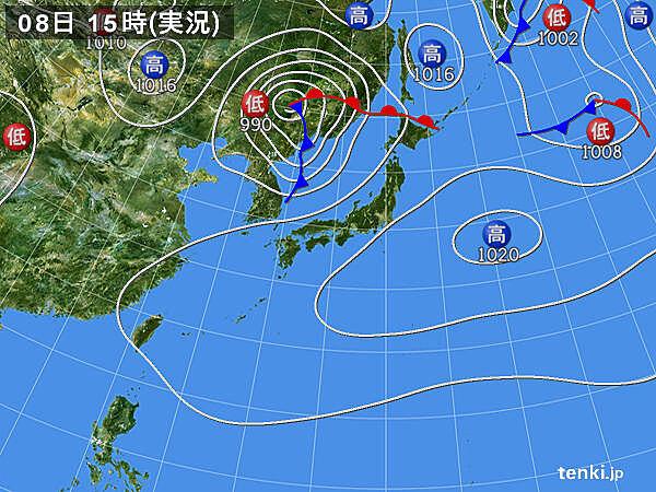 実況天気図(2020年09月08日)