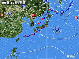 実況天気図(2020年09月09日)