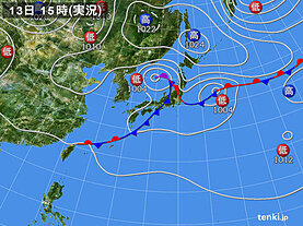 実況天気図(2020年09月13日)