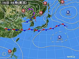 実況天気図(2020年09月16日)