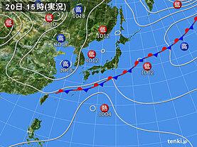 実況天気図(2020年09月20日)