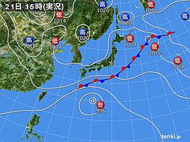実況天気図(2020年09月21日)
