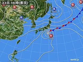 実況天気図(2020年09月23日)