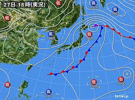 実況天気図(2020年09月27日)