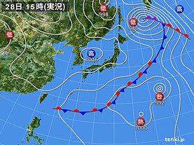 実況天気図(2020年09月28日)
