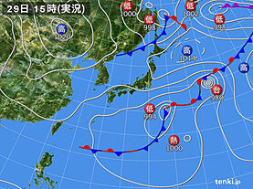 実況天気図(2020年09月29日)