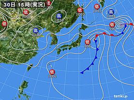 実況天気図(2020年09月30日)