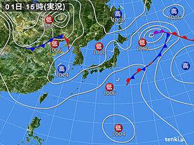実況天気図(2020年10月01日)