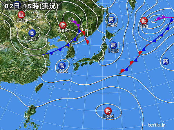 実況天気図(2020年10月02日)
