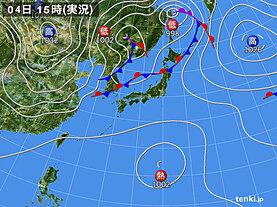 実況天気図(2020年10月04日)