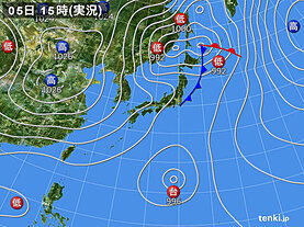 実況天気図(2020年10月05日)