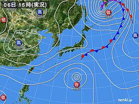 実況天気図(2020年10月06日)
