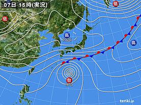 実況天気図(2020年10月07日)
