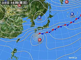 実況天気図(2020年10月08日)