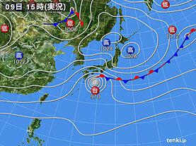 実況天気図(2020年10月09日)