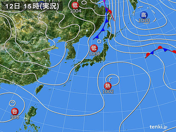 実況天気図(2020年10月12日)