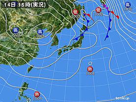 実況天気図(2020年10月14日)