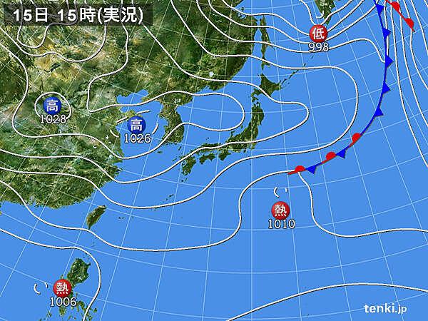 実況天気図(2020年10月15日)