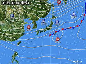 実況天気図(2020年10月16日)