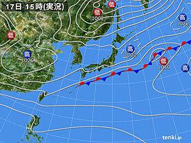 実況天気図(2020年10月17日)