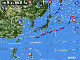 実況天気図(2020年10月19日)