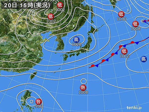 実況天気図(2020年10月20日)
