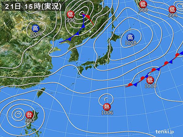 実況天気図(2020年10月21日)