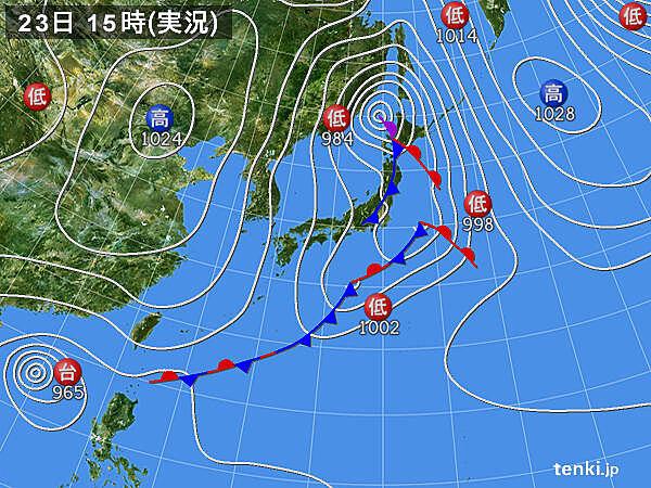 実況天気図(2020年10月23日)