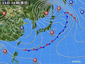 実況天気図(2020年10月24日)