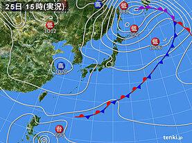 実況天気図(2020年10月25日)