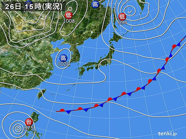 実況天気図(2020年10月26日)