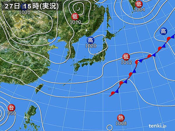 実況天気図(2020年10月27日)