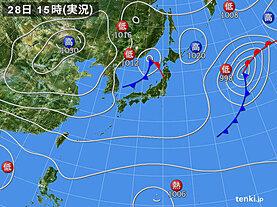 実況天気図(2020年10月28日)