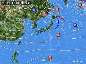 実況天気図(2020年10月29日)