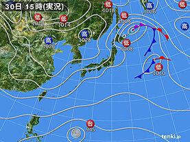 実況天気図(2020年10月30日)