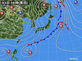 実況天気図(2020年11月03日)