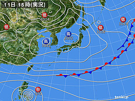 実況天気図(2020年11月11日)