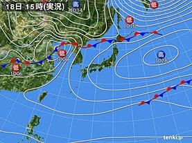 実況天気図(2020年11月18日)
