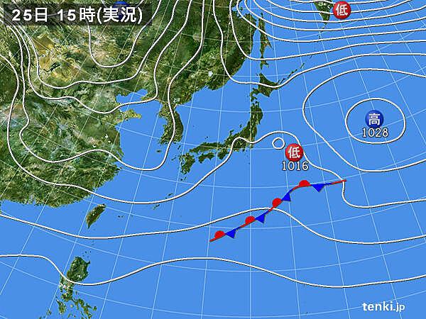 実況天気図(2020年11月25日)