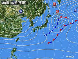 実況天気図(2020年11月28日)