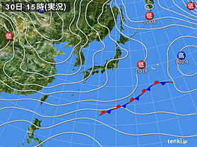 実況天気図(2020年11月30日)