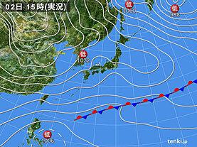 実況天気図(2020年12月02日)