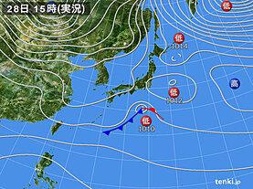 実況天気図(2020年12月28日)