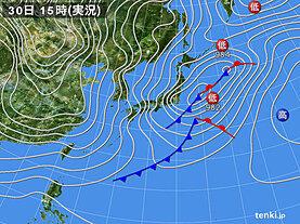実況天気図(2020年12月30日)