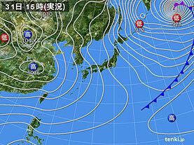 実況天気図(2020年12月31日)