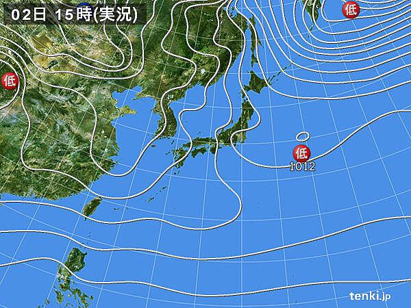 実況天気図(2021年01月02日)