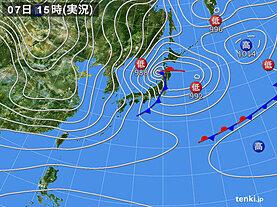 実況天気図(2021年01月07日)