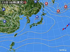 実況天気図(2021年01月11日)