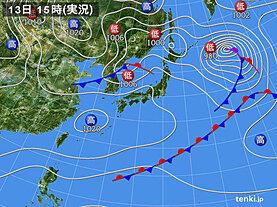 実況天気図(2021年01月13日)