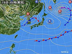 実況天気図(2021年01月15日)